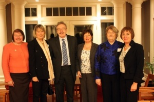 Founding Members with the Irish Ambassador, His Excellency, Dr. Ray Bassett. From L to R: Trudy Grealis-Sturton, Mary Wolff, His Excellency Dr. Ray Bassett, Linda Fitzgibbon, Kay O'Hegarty, Mary Comerton
